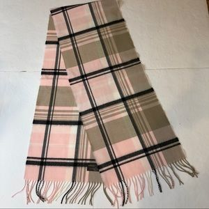 "D&Y ""softer than cashmere"" pink & black plaid"